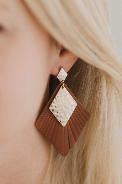 Cut Faux-Leather Earrings - Tan
