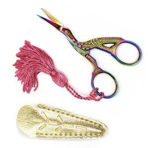 Modern Prismatic Stork Embroidery Scissors