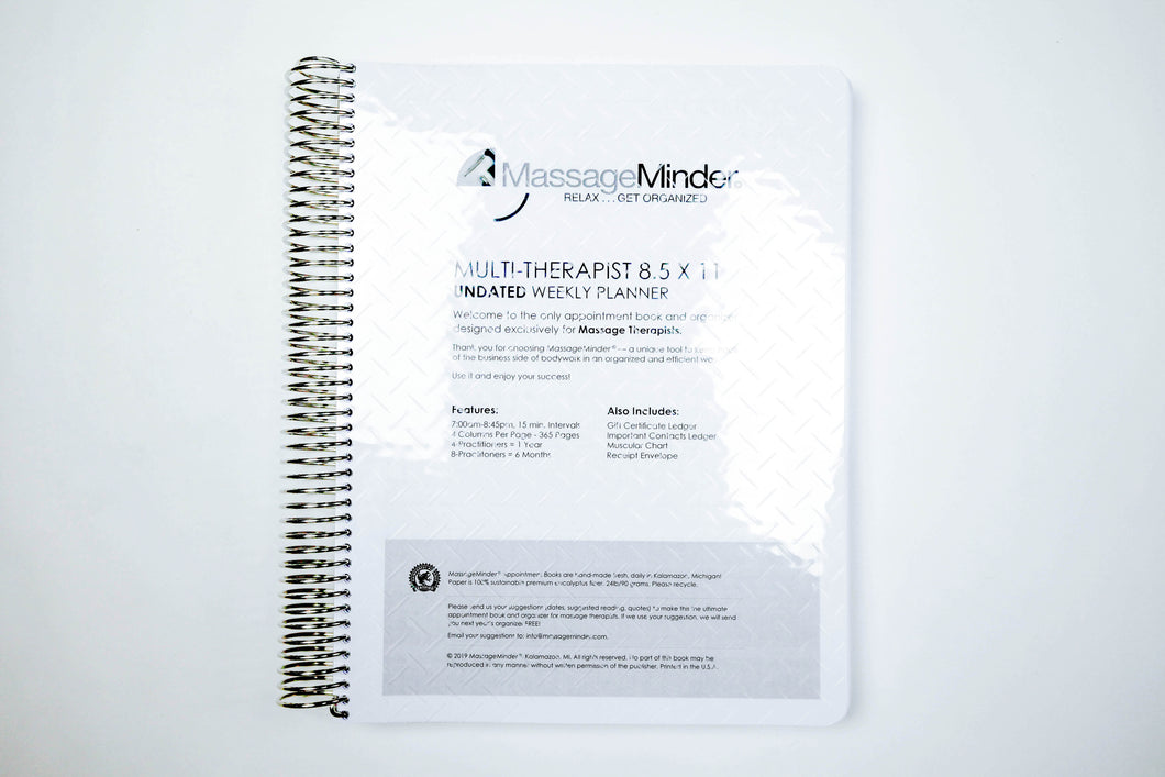 Multi-Therapist-Undated Appointment Book or Refills (8.5x11)