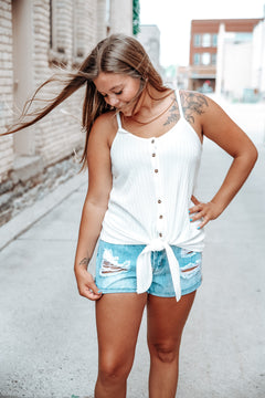 Jodie Ribbed Button Up Tank | White