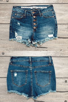 Sarah | 5 Button High Rise Denim Shorts