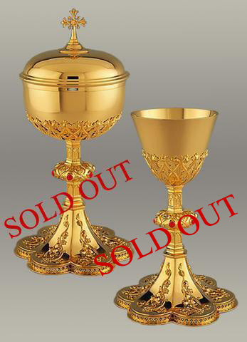 Neo-Gothic Chalice and Paten #10-108 $4,495 (Sold out) #10-308 Ciborium (Sold out)