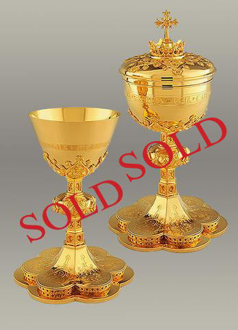 Traditional Neo-Gothic Chalice  #10-16510 $6,495  (sold) Matching Ciborium #10-365  $6,995 (sold)