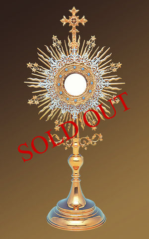 Roman Monstrance with Marial Blue stones  #10-412B