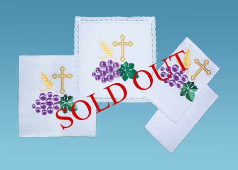 Grape/Vine Leaf Sacramental Linen Set #10-720