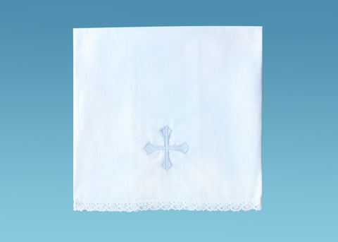 Linen Corporal with white embroidered cross #10-732