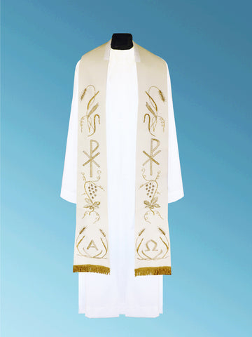 Hand-Embroidered Chi/Rho Alpha Omega Overlay Stole #11-001S  (Available in 4 Colors)