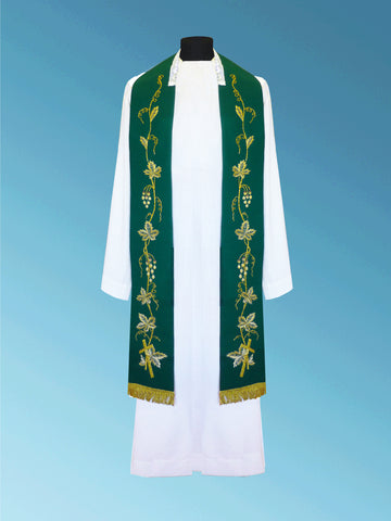 Hand-Embroidered Overlay Stole #11-003S  (Available in 3 Colors)