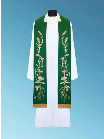 Hand-Embroidered Overlay Stole #11-004S (Available in 2 Colors)