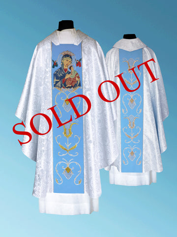 Our Lady of Perpetual Help Hand-Embroidered Chasuble #11-012OPH