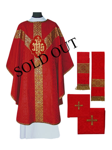Traditional IHS Semi-Gothic Chasuble #11-704  (Available in 7 Colors)