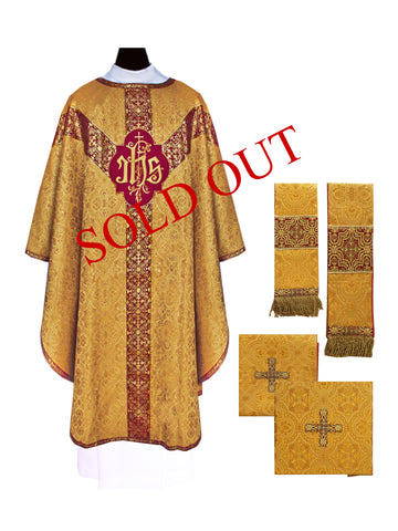 Traditional Festive IHS Semi-Gothic Chasuble #11-714GD and Dalmatic #11-714DGD