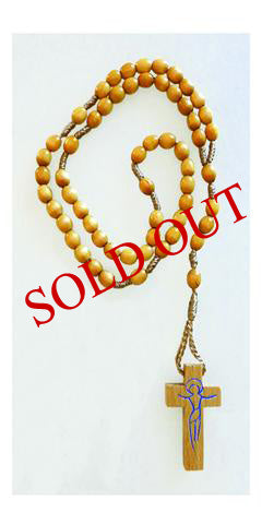 Corded Rosaries with Oval Wooden Beads