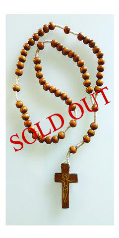 Corded Rosaries with Round Wooden Beads