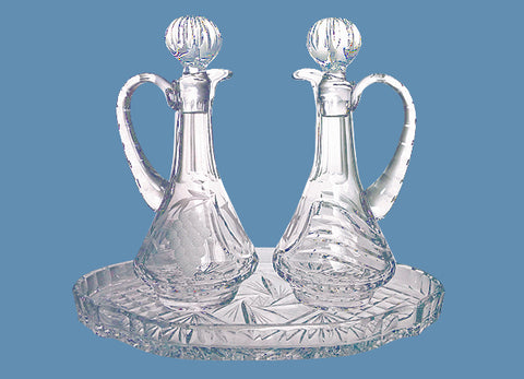 Crystal Cruet #570 - $250       Crystal Tray #524 - $75(Tray Sold Out)
