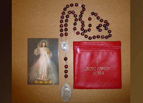Divine Mercy Wood Rosary, Chaplet, and Rosary Pouch Set #842