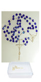Crystal Rosary with Papal Crucifix and Madonna Center in a Rosary Case #411B (Available in 6 colors)