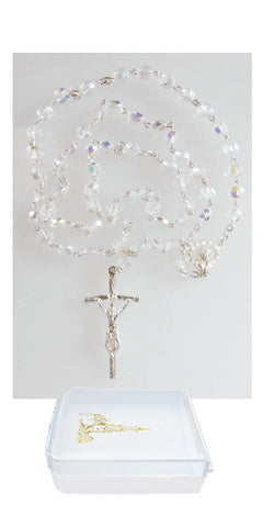 Crystal Rosary with Papal Crucifix and Madonna Center in a Rosary Case #411B