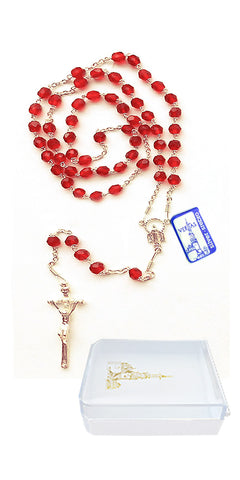 Sterling Silver Rosary with Crystal Beads #132-RP