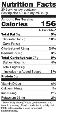Farin'UP Crêpe Mix Nutrition Facts Label