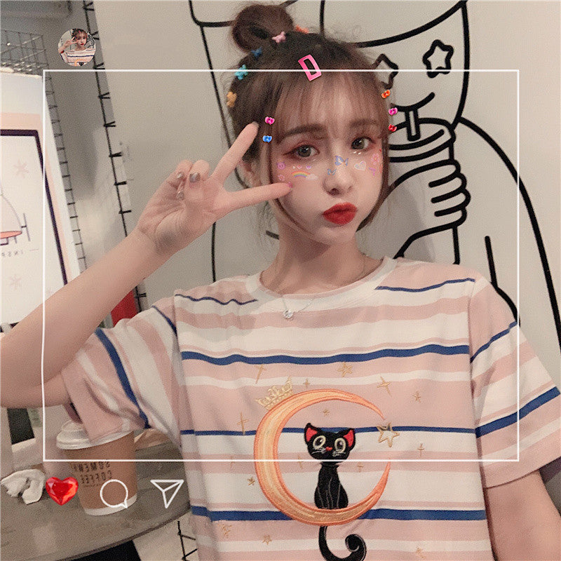 Sailor Moon Embroidered Cat Stripe Short Sleeve T-Shirt    YC21463