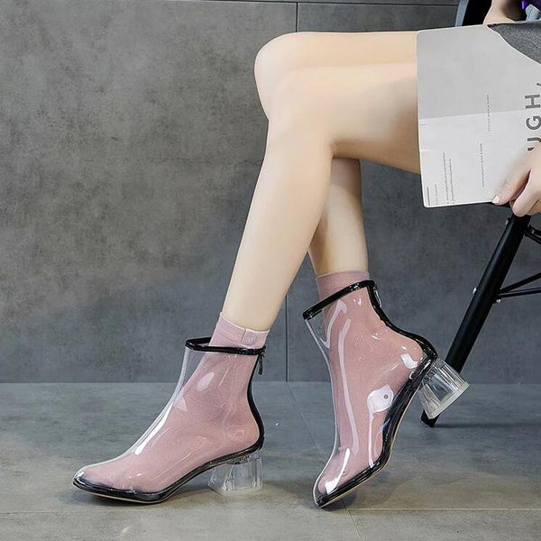 Summer fashion transparent short boots yc23203