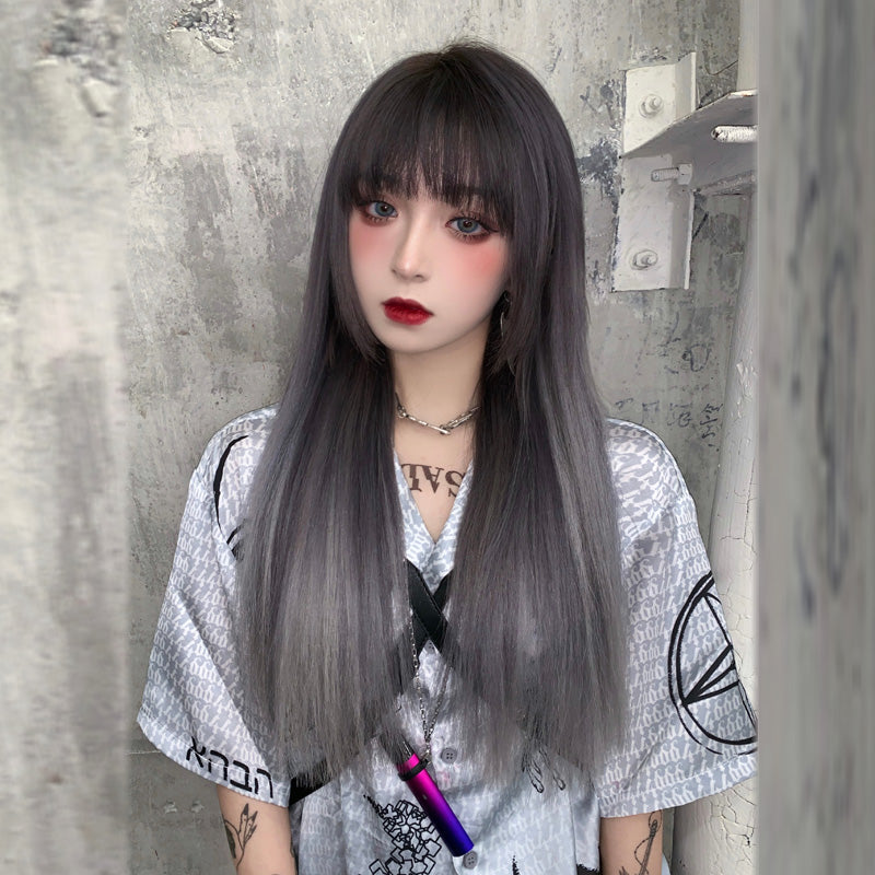Fashion style brown black gradient silver gray wig yc23343