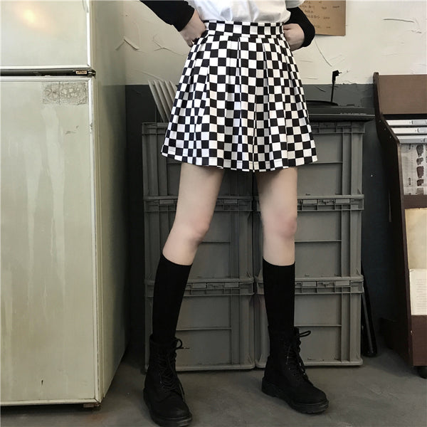 Summer fashion black white plaid skirt yc23108