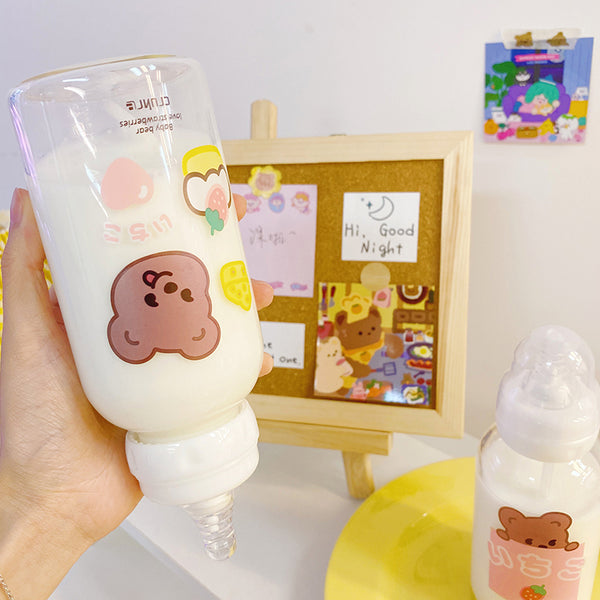 Cute style bear pattern glass bottle feeding bottle yc23322
