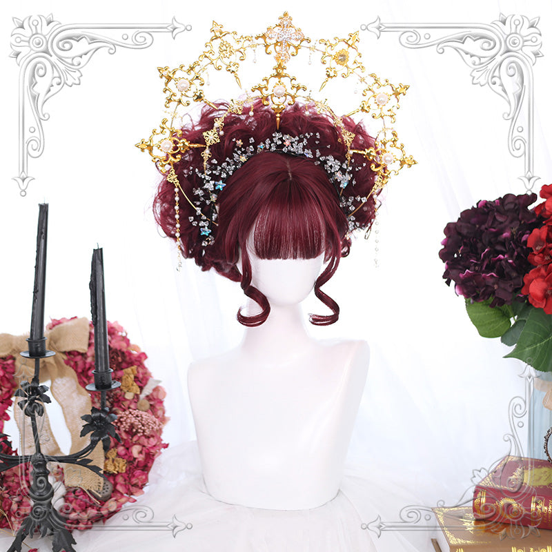 Lolita red purple curly hair wig yc22595