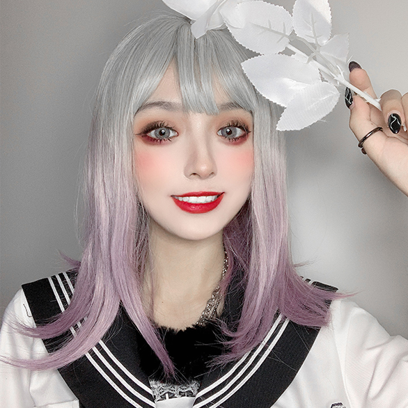 lolita purple gray gradient wig yc22589