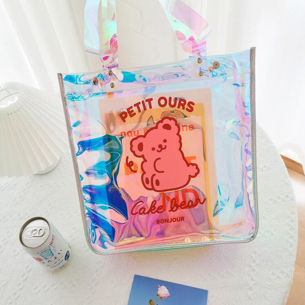 cute bear pattern transparent handbag yc23424
