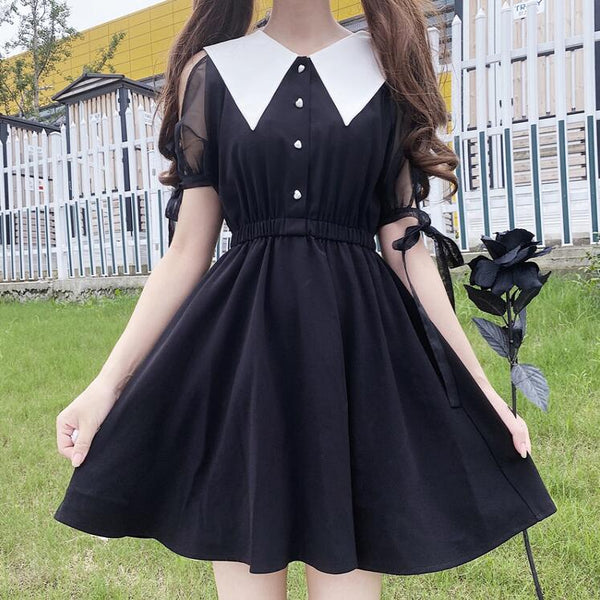 Fashion puff sleeve dress yc23454