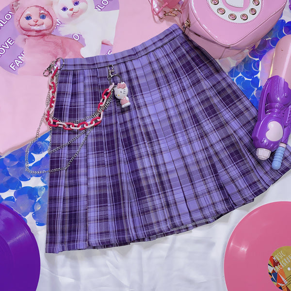 College style summer plaid skirt yc23284