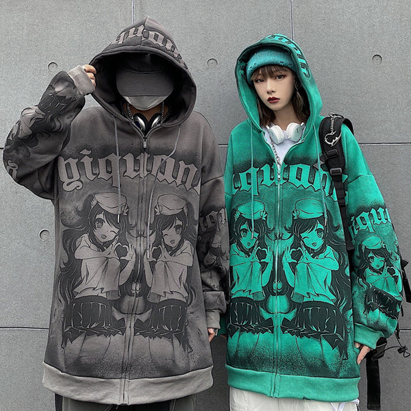 Retro anime hooded jacket  yc23756