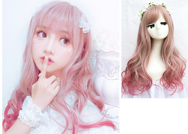 Harajuku lolita gray red mixed color cos wig YC20211