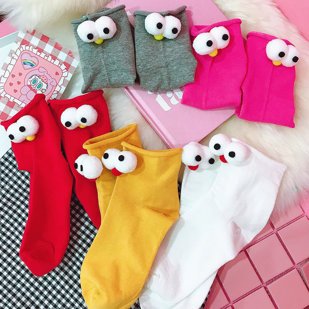 Japanese cute eye socks with 11 color yc20829