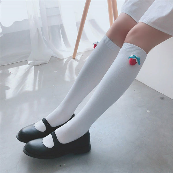 Lolita Japanese style strawberry socks yc23143