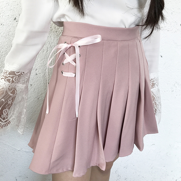 Cute tie pleated skirt yc21033
