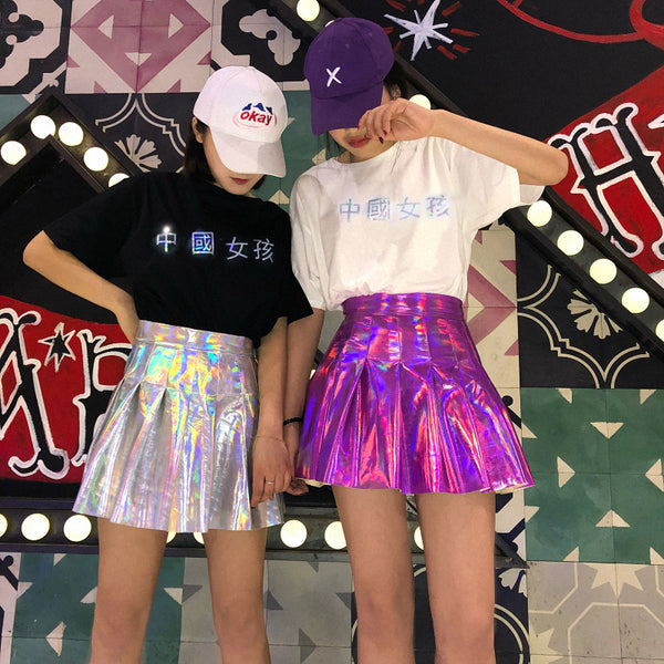 Harajuku hip hop laser pleated skirt yc20960