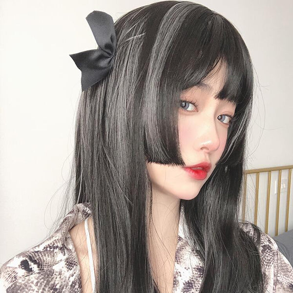 lolita black&gray mixed color wig yc23723