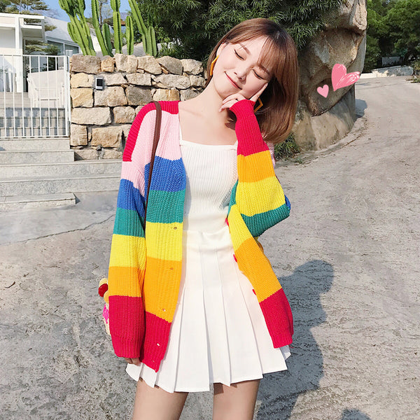 Rainbow coat sweater yc21076