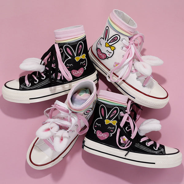 ulzzang fashion bunny pattern canvas shoes yc23595
