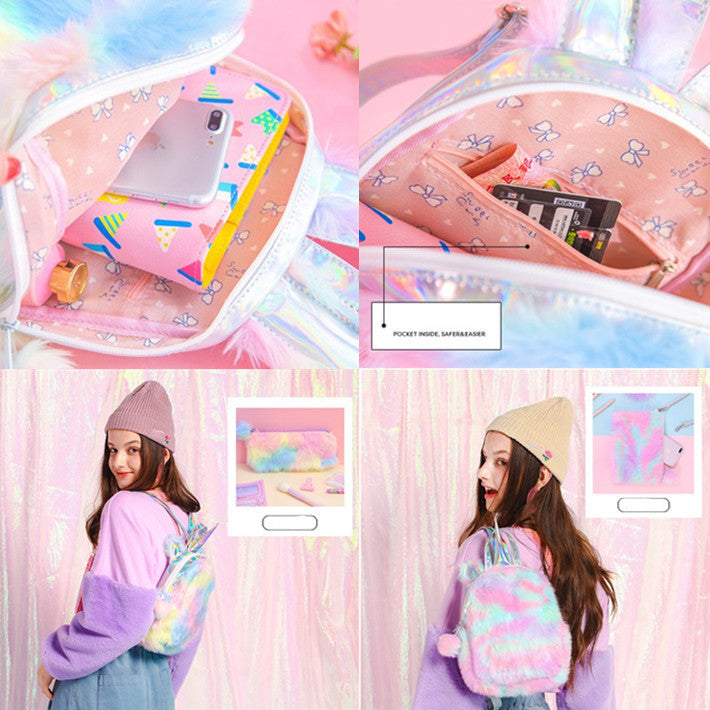 Laser Rainbow Unicorn Backpack yc21007
