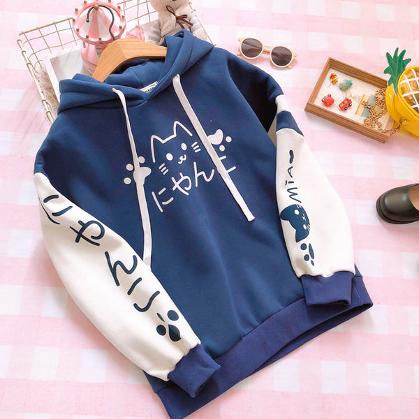 Japanese cute cat hooded sweater yc20926