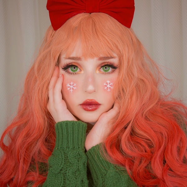 Lolita Pink red Gradient Curly Wig YC20359