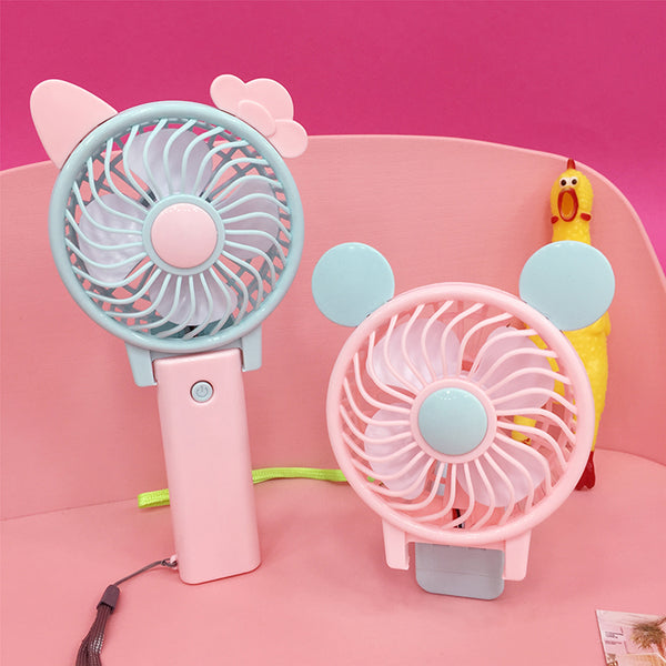 Cute bunny ears folding charging fan yc21138