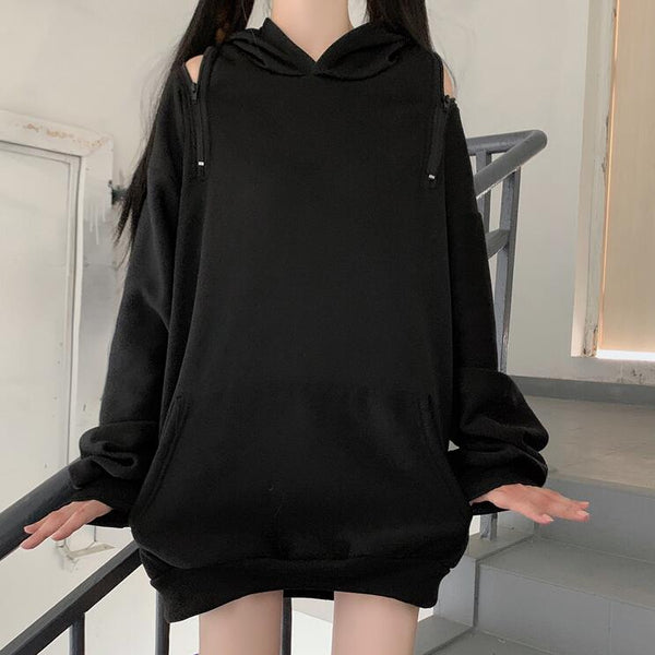 Handsome zipper off-shoulder autumn hoodie yc23625