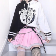 Japanese angel and devil stitching sweater  yc20564