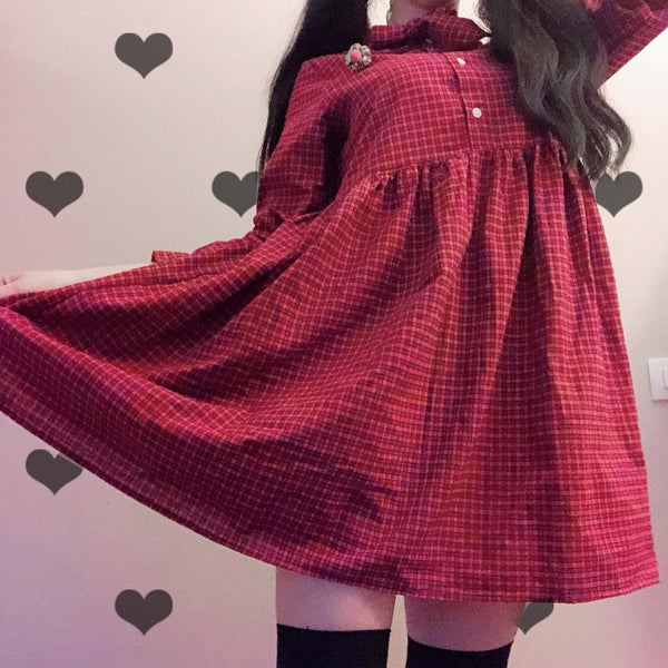 Japanese Vintage Plaid Long Sleeve Dress yc20600